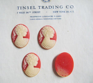 Coral/Cream Cameo 40mm x 30mm 6 pcs