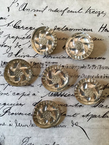 6 Round Crystal Glass Mirror Backed Buttons