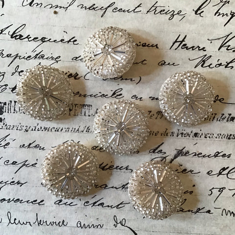 6 Round Silver Glass Bugle Buttons