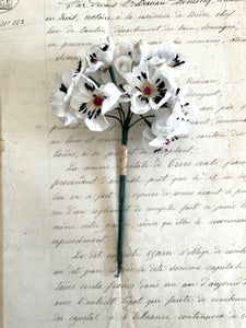 White Flower Spray w/Black Stamens