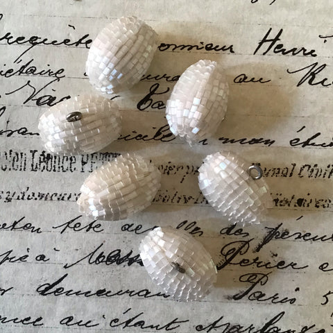 6 White Satin Glass Bugle Toggle Buttons