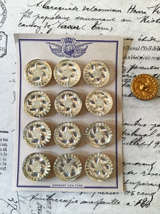 1 Doz Round Crystal Glass Mirror Backed Buttons