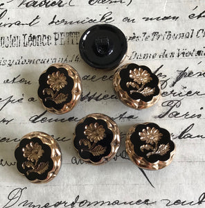 6 Black Glass Buttons - Gold or Dark Silver