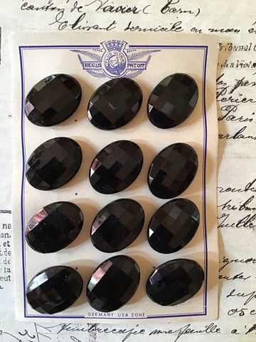 12 Black Oval Faceted Glass Buttons