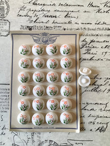 2 Doz White Glass Buttons w/Painted Floral Original Card
