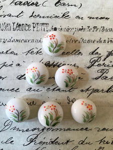 6 White Glass Buttons w/Painted Floral
