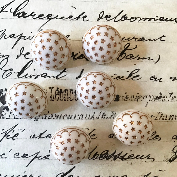 6 White Glass Buttons w/Painted Gold Stars