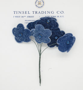 Blue Velvet Embossed Flower Spray