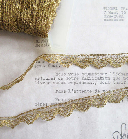 Gold Metallic Lace Trim 9/16""