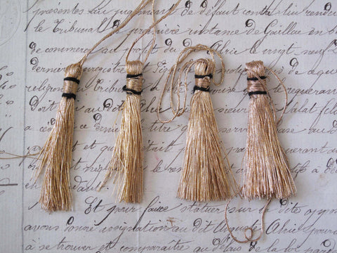 "Light Gold Metallic Thread Tassel 4 Pcs  2"" - SALE"