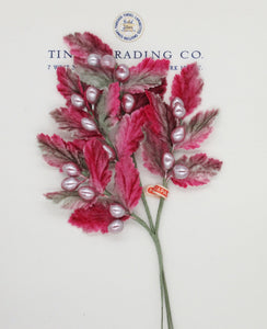 Dark Pink/Gray Velvet Leaf/Bud Spray