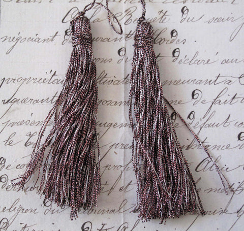 "Pink/Silver Metallic Thread Tassel 2 Pcs 2 1/2"" - SALE"