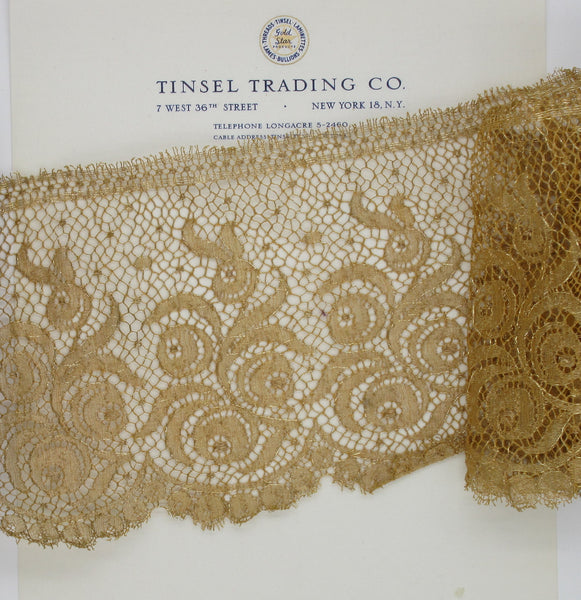 Wide Antique Gold Metallic  Scallop Lace