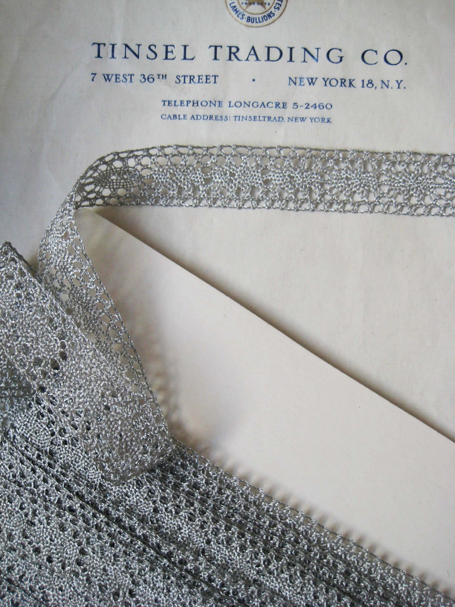 "Silver Metallic Lace Trim 13/16"" 2 Yards"