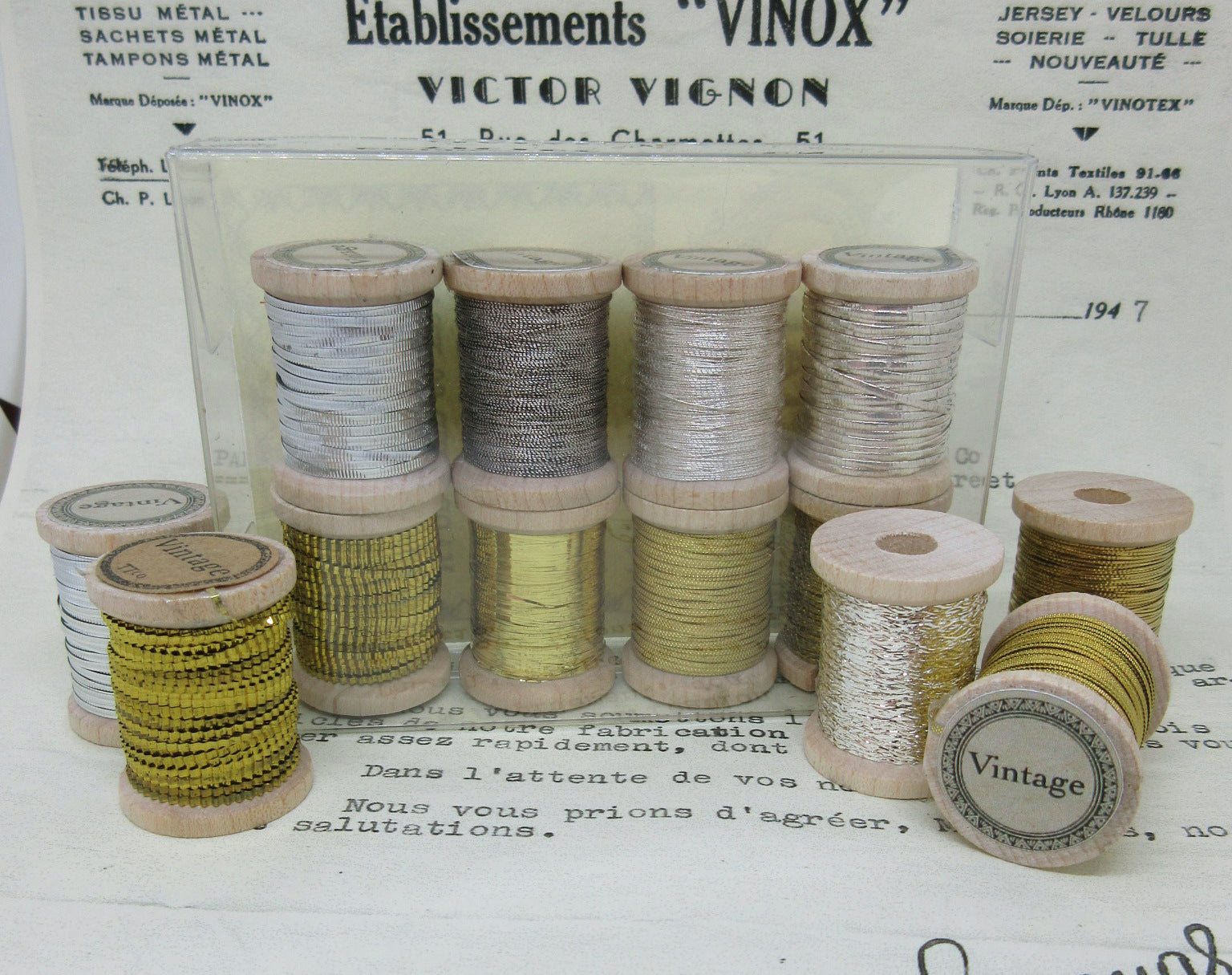 Assorted Antique French Metallic Silver and Gold Thread