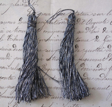 "Blue/Silver Metallic Thread Tassel 2 Pcs 2 1/2"" - SALE"