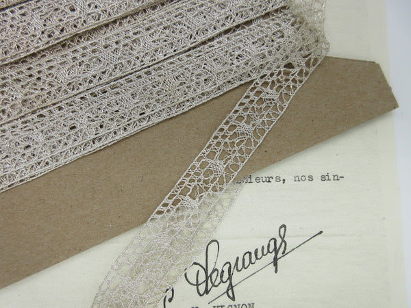 Silver Metallic Straight Edge Lace Trim 5/8""