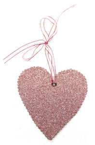 Antique Pink Glass Glitter Heart