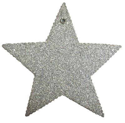 Silver Glass Glitter Stars - Asst Sizes