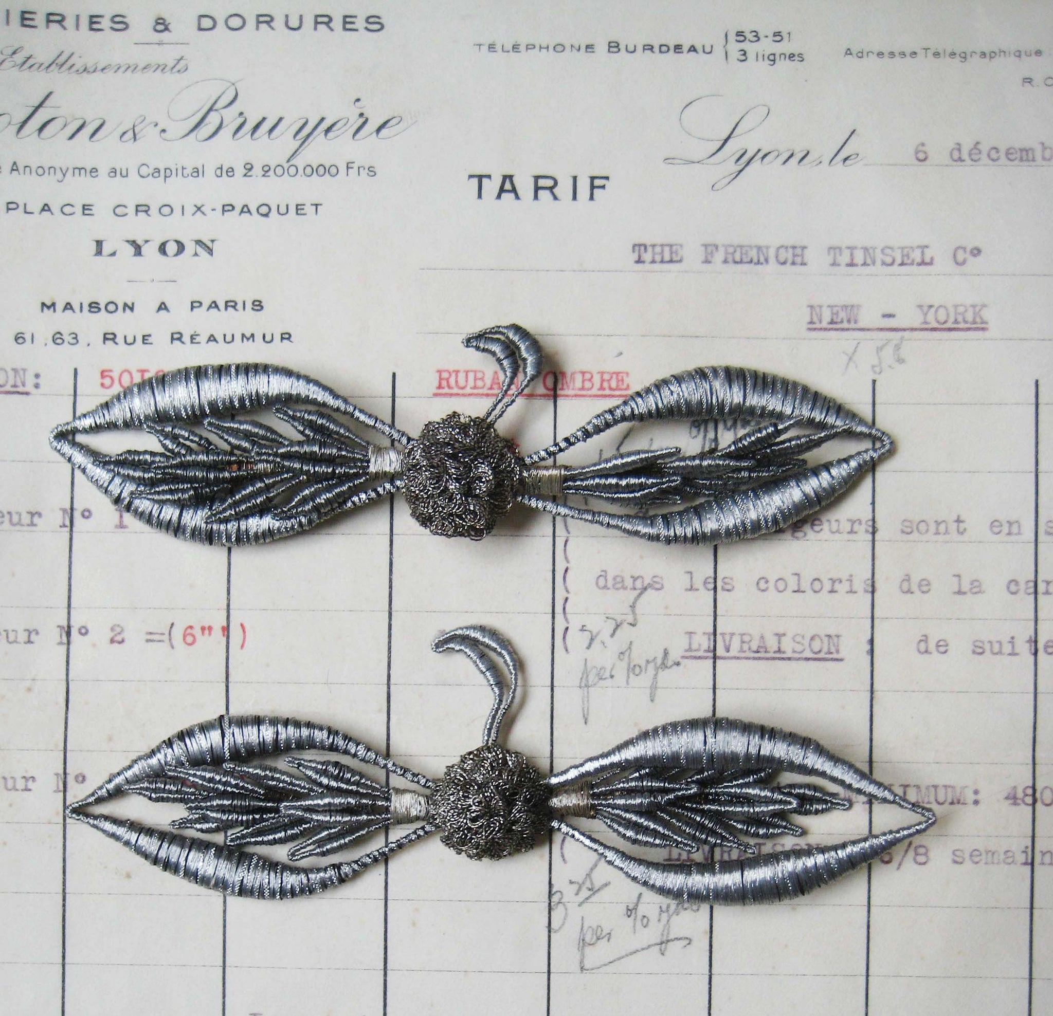 Pair Silver Wing-Like Appliques