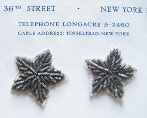 Pewter Color Metallic Bullion Stars 2 pcs