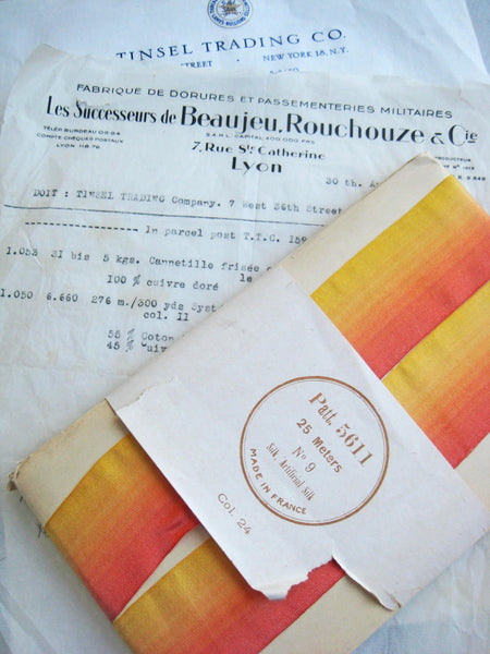 French Yellow/Orange Ombre Silk 1 Yard