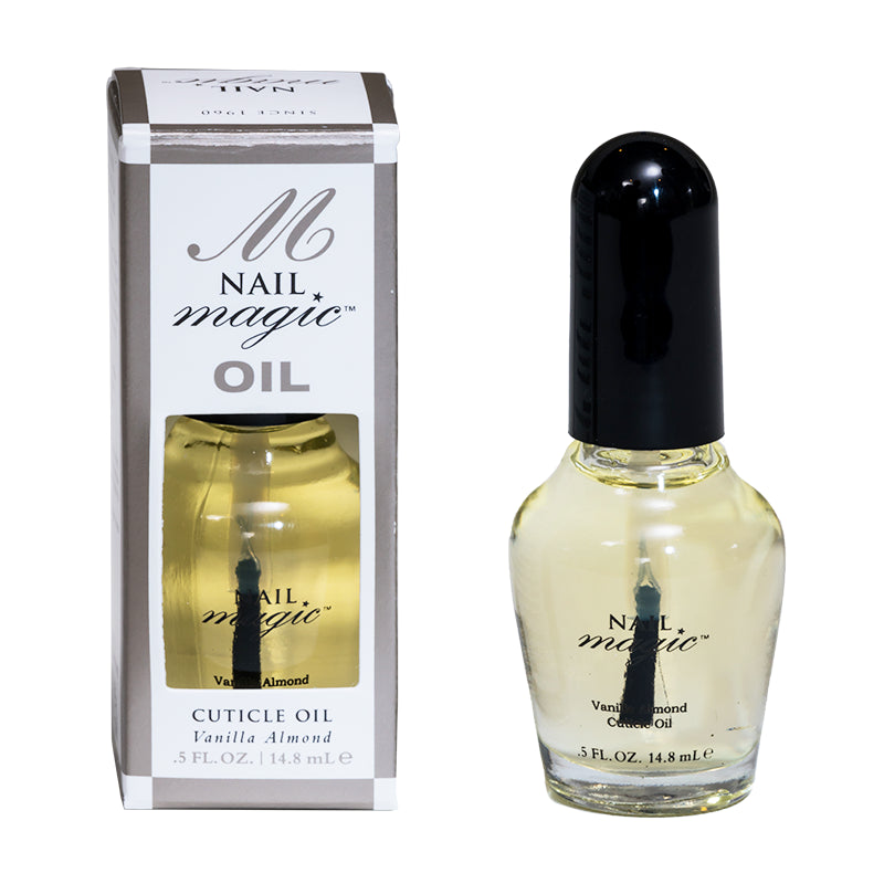 Nail Magic's .5 fluid oz Vanilla Almond cuticle oil helps repair dry and damaged cuticles