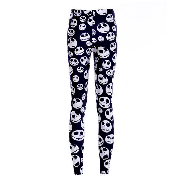 New Arrival 3760 Sexy Girl Halloween Black ghost Skull Bat Cross Printed Elastic Fitness Polyester Workout Women Leggings Pants