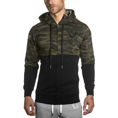 New Fashion  Hooded Sweatshirts autumn and Men's hoodie military camouflage stitching casual coat size M-XXL