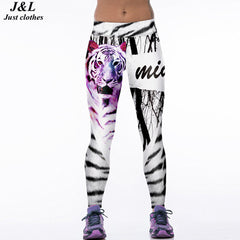 JLZLSHONGLE Super New Sexy Women Fitness Leggings Workout Pants Tiger 3D Print 22 Styles Push-up Elastic Slim Legging Leggins