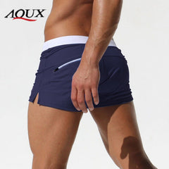 AQUX Brand Men's Swimwear Stretch Nylon Beach Pants Small Pocket Leisure Swimming Boxer Swimming Trunks