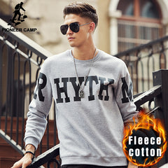 Pioneer Camp letter printed warm hoodies men brand clothing fashion autumn winter male hoodies quality men sweatshirts 699062