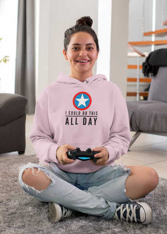 I Could Do This All Day - Women Gamer Pullover Hoodie - darkgamer