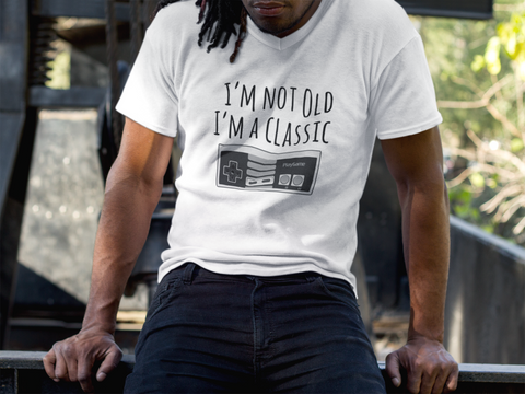 I'm Not Old, I'm A Classic - Men Jersey Short Sleeve V-Neck Tee - darkgamer - Gamer Clothing and Accessories