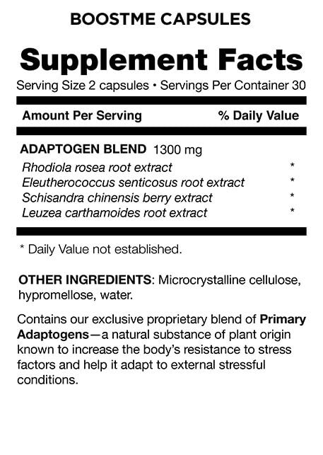 BoostMe Capsules Supplement Facts