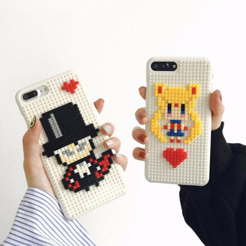 Sailor Moon/Tuxedo Mask Block Pixels Cases For iPhone