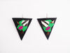 "NÜBYA - ""TYRA BLACK/GREEN"" LEATHER EARRINGS"