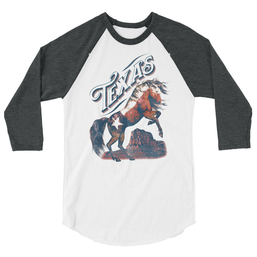 """TEXAS FLAG HORSE"" 3/4 sleeve raglan shirt"
