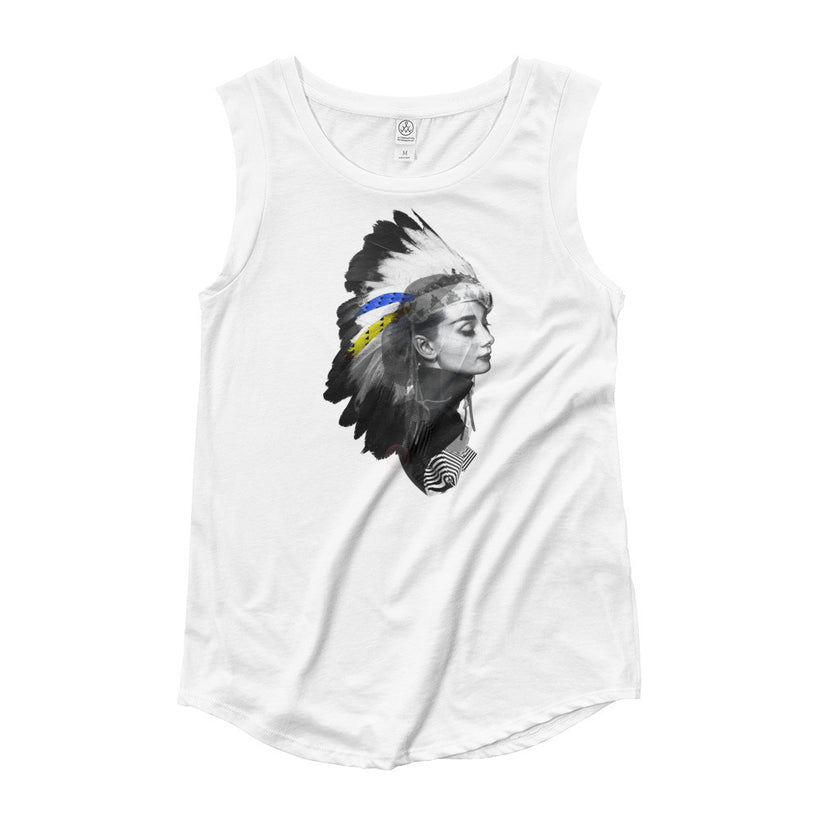 """AUDREY HEADDRESS"" Ladies' Cap Sleeve T-Shirt"