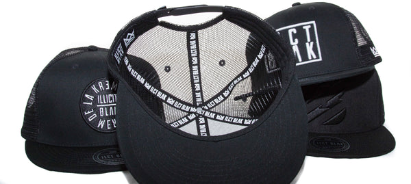 Illicit White on Black Initialed Trucker.