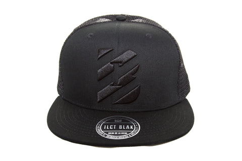Illicit Blak on Black Initialed Trucker Cap.