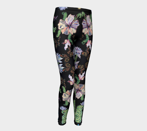 Butterfly and Fern Pattern Girl Leggings