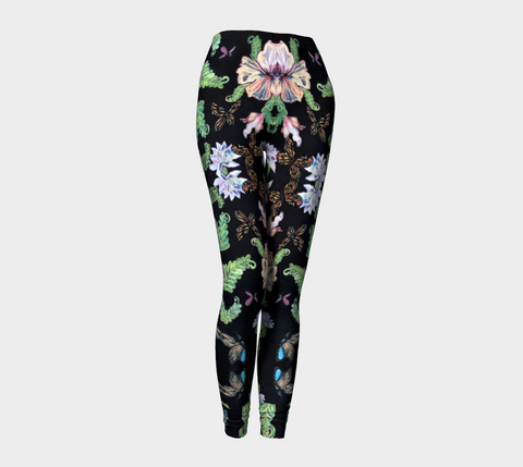 Butterfly and Fern Pattern Leggings