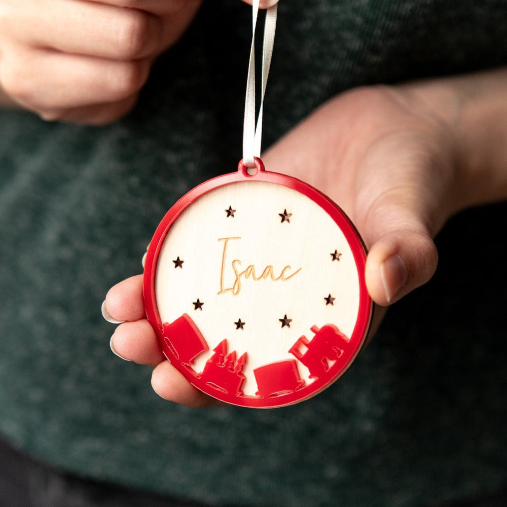 Personalised Train Christmas Bauble