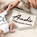 Personalised New Baby Fabric Wall Art Banner