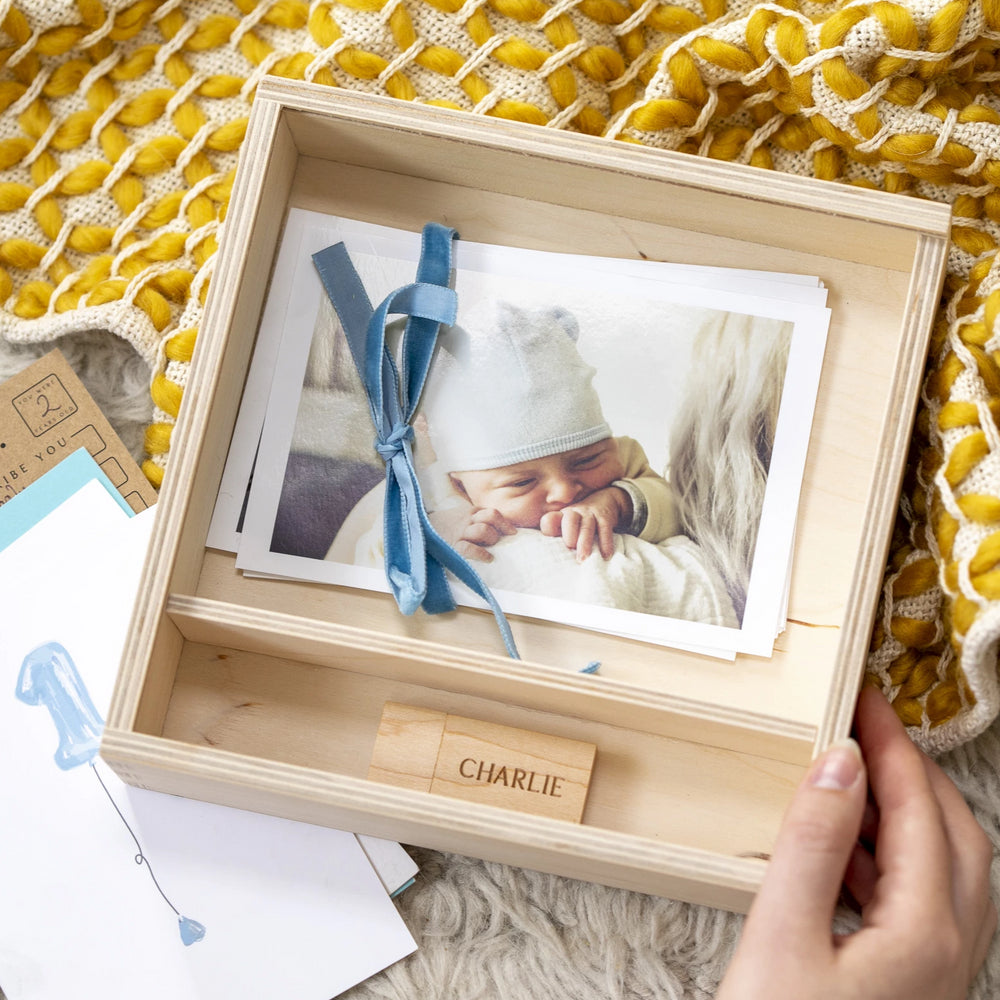 Personalised Photo New Baby Memory BoxClouds and Currents