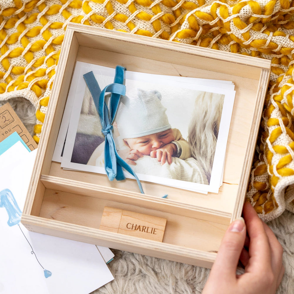 NEW Personalised Baby Photograph Keepsake BoxClouds and Currents