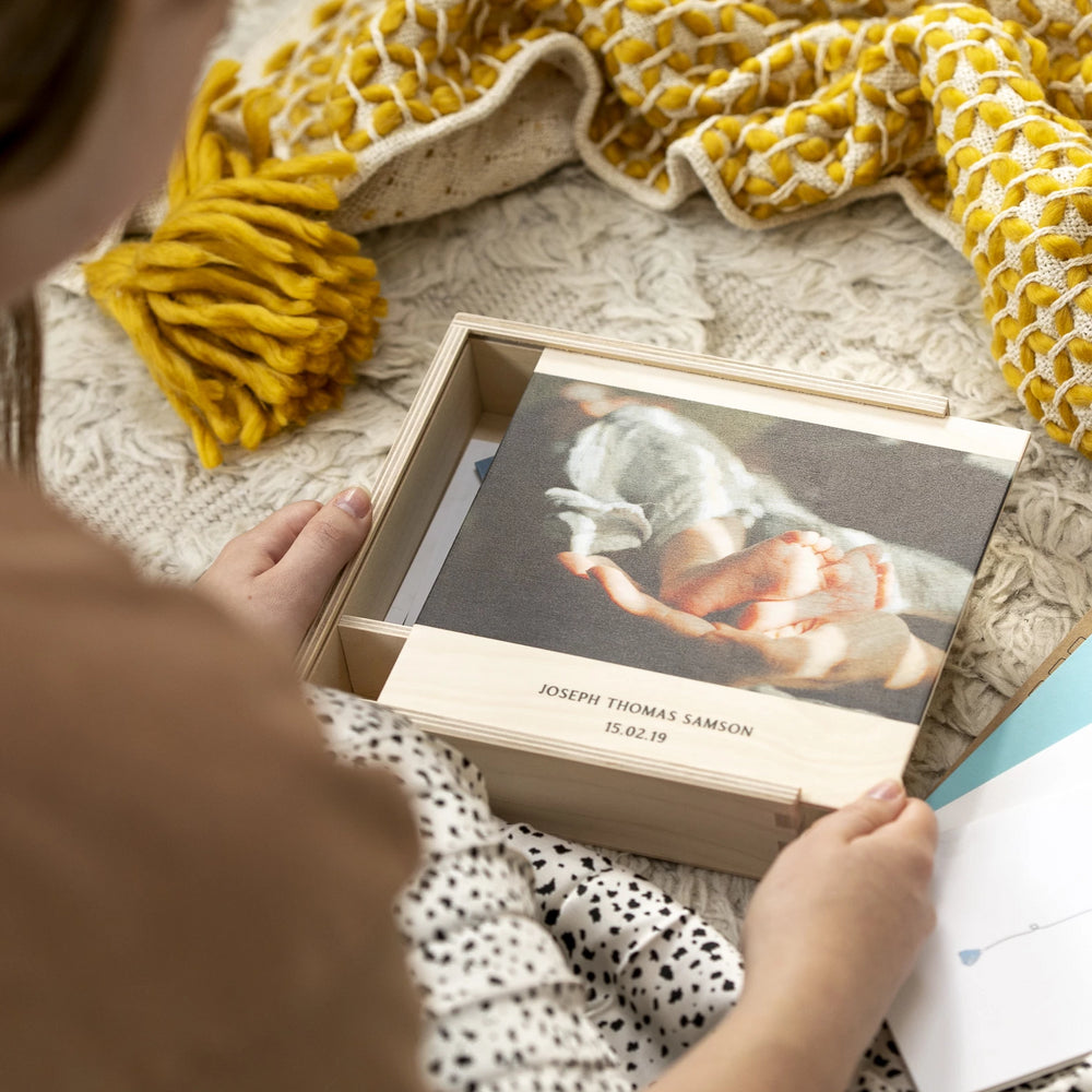 Personalised Photo New Baby Keepsake BoxClouds and Currents