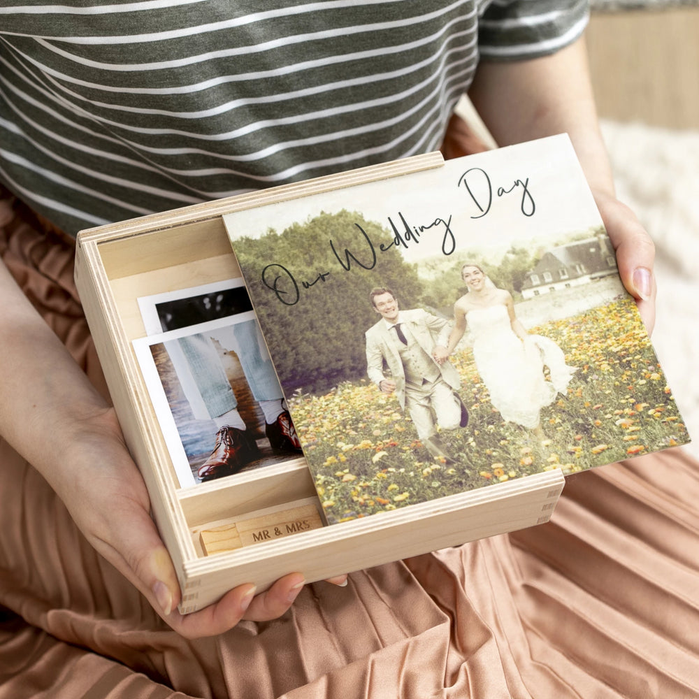 Personalised Wedding Photograph Memory BoxClouds and Currents