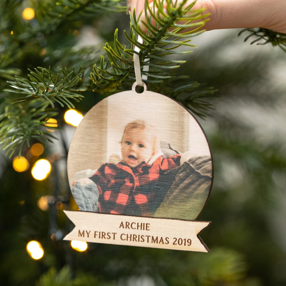 Personalised My First Christmas Photo BaubleClouds and Currents